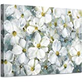 Abstract Flower Wall Art Picture: White Floral Artwork Painting on Canvas for Living Room (36''W x 24''H,Multi-Sized)