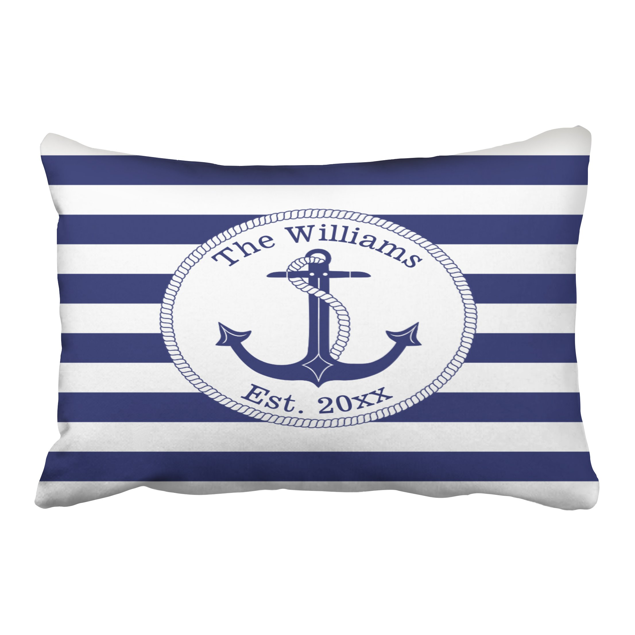 Accrocn Pillowcases Nautical Anchor Navy Blue Stripes Family Name Outdoor Customizable Cushion Decorative Pillowcase Polyester 20 x 30 Inch Rectangl Queen Size Pillow Covers With Hidden Zipper