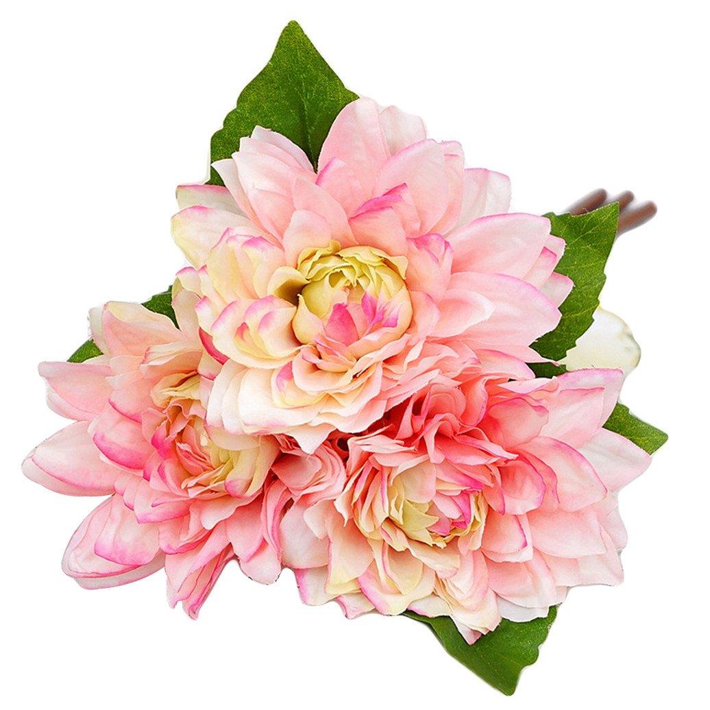 display08 1 Bouquet 3 Pcs Caroline Dahlia Artificial Flowers Home Room Wedding Decor - Pink