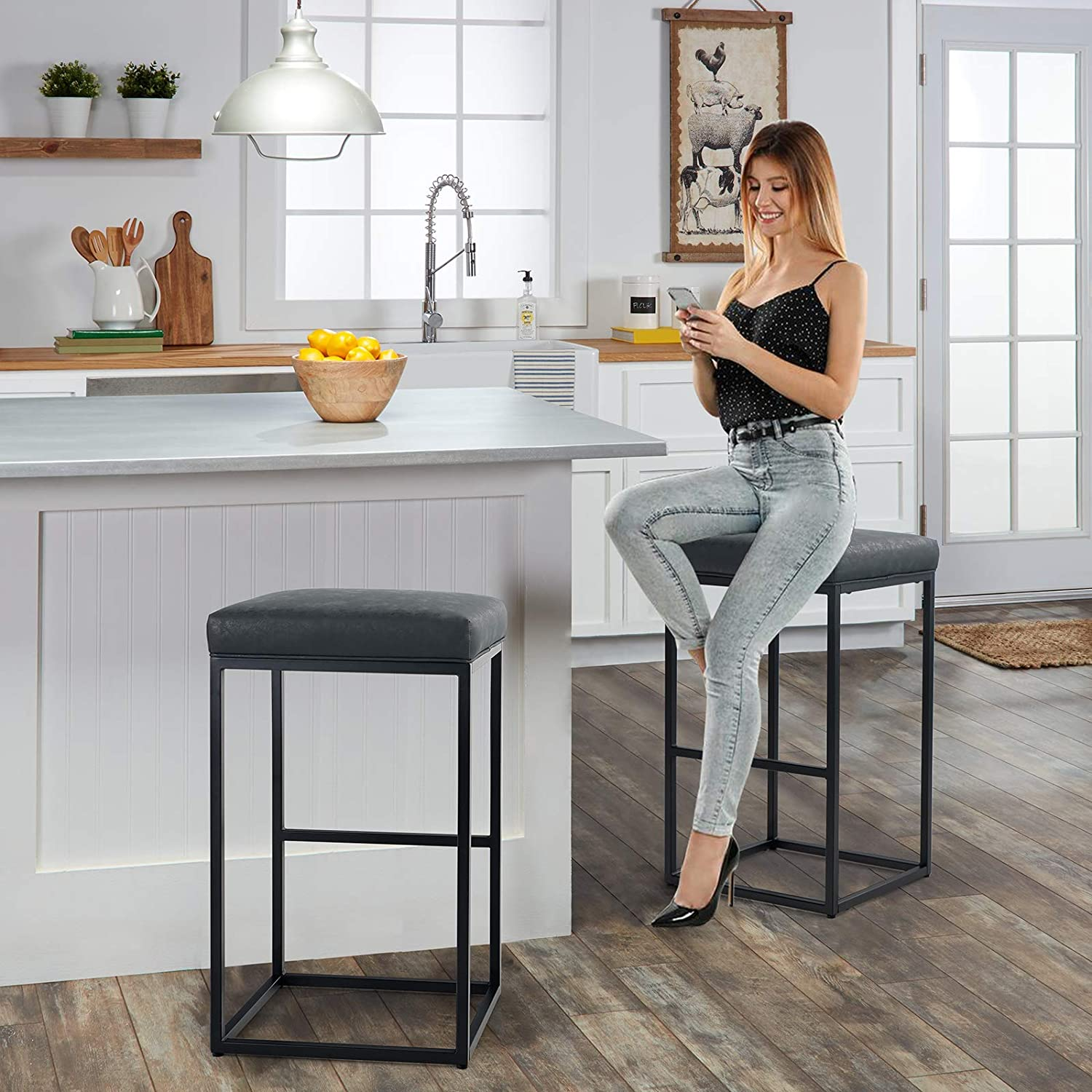 MAISON ARTS Bar Height 9 Inch Bar Stools Set of 9 for Kitchen Counter  Backless Industrial Stool Modern Upholstered Barstool Countertop Saddle  Chair ...