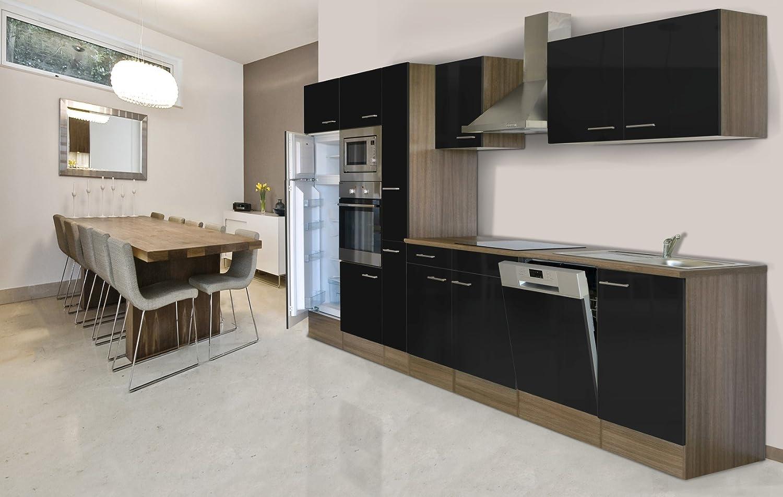 Respekta - Cocina amueblada, encimera de 370 cm, réplica de roble York, horno de cerámica negro, microondas, armario de farmacia: Amazon.es: Hogar