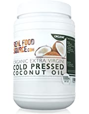 RealFoodSource Certified Organic Extra Virgin Cold Pressed Coconut Oil 1 Litre Eco Tub (~920g) with FREE Coconut Oil Recipe Ebook