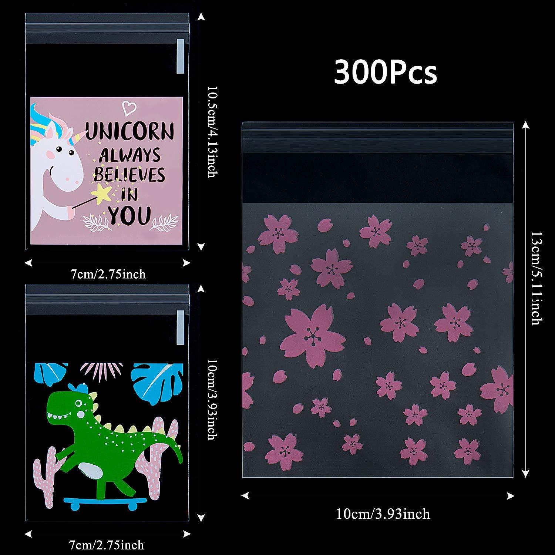Meersee Star 300pcs Sachet Bonbon Plastique Mignons Motif Sac Drag/ée Auto-Adh/ésif Transparent pour Chocolat G/âteau Biscuit Bonbon Friandise Anniversaire No/ël Mariage