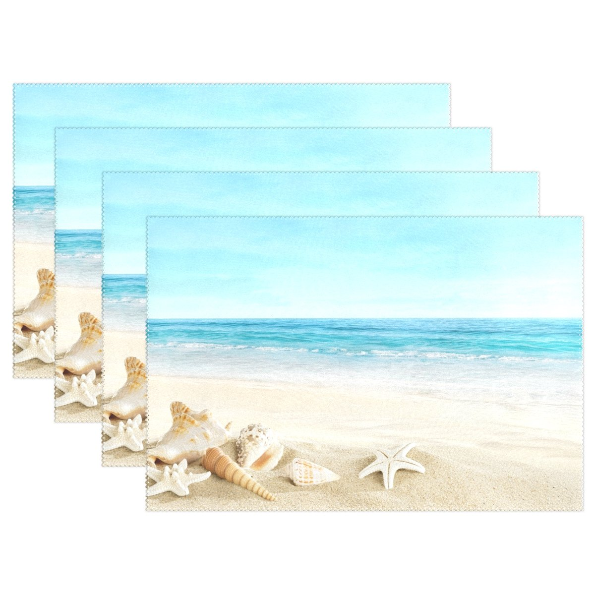 Polyester Tablemat Place Mat for Kitchen Dining Room 1 Piece LIANCHENYI Summer Shell On Beach Heat-resistant Placemats