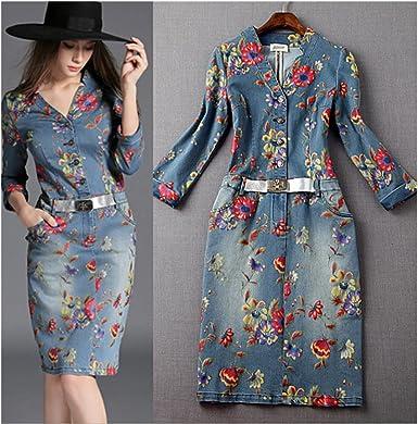 La falda vaquera impresionada flor tela de mahón (L): Amazon.es ...