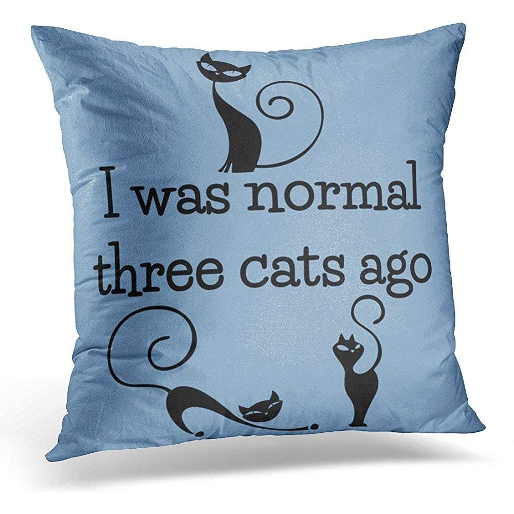 Personalized Throw Pillow Cases Black Crazy Three Cats Funny Cute Lady Soft Square Custom Pillowcases Zipper Bed Sofa Car Decor Cushion Cover GAMSJM