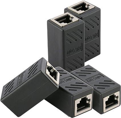 DEFACE RJ45 Coupler 8 Pack Cat8 Cat7 Cat6 Cat5e Female to Female Ethernet Adapter Black