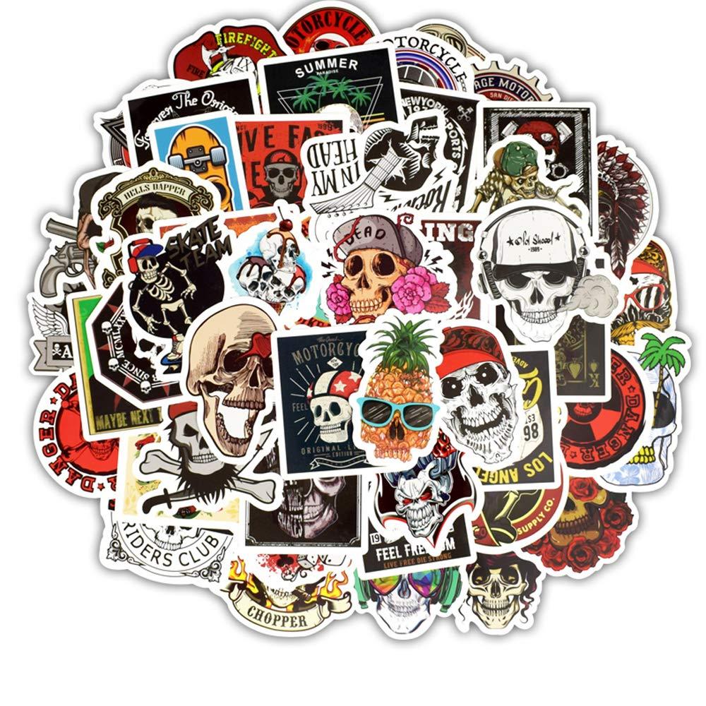 YGSAT [100-pcs Sticker Tête de Crâne Coloré Graffiti Autocollant Stickers Vinyles pour Autocollant Aléatoire Parfait Pourplanches à roulettes Les Bagages Les Pare-Chocs Les Guitare Le Snowboard
