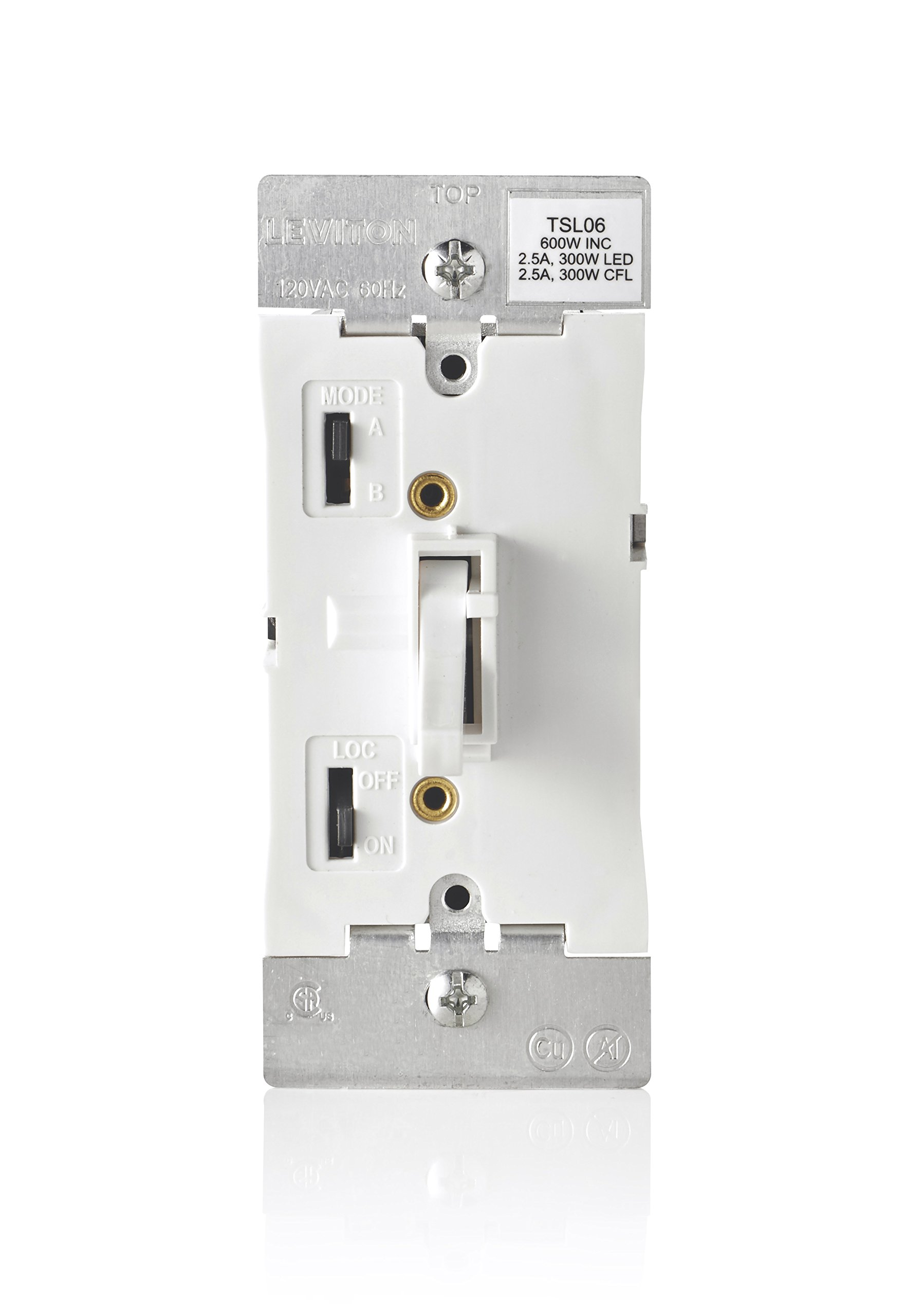 Leviton TSL06-1LW Toggle Slide Universal Dimmer, 300-Watt Dimmable LED and CFL, 600-Watt Incandescent and Halogen for Single Pole or 3-way, with locator light, 1 pack, White by Leviton