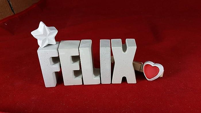 Ein ausgefallenes Geschenk als Deko Schriftzug f/ür einen sch/önen Platz im Home. Beton Steinguss Buchstaben 3 D Deko Schriftzug Namen KUSS als Geschenk verpackt