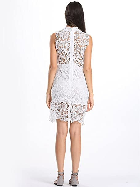 36f8855c3ec Reinhar Women s White High Neck Crochet Lace Sleeveless Club Bodycon Dress  XL