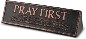 Lighthouse Christian Products First Cast Stone & Copper Pray Desktop Reminder Plaque