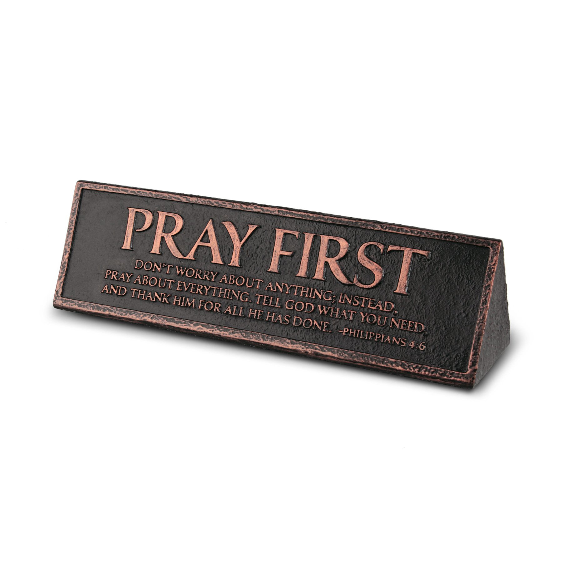 Lighthouse Christian Products Cast Stone & Copper Pray First Desktop Reminder Plaque