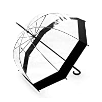 Becko Stick Umbrella / Clear Canopy Bubble Umbrella / Transparent Dome Shape Princess Style Rain Umbrella with Gradient J-handle for Wedding / Party / Camping