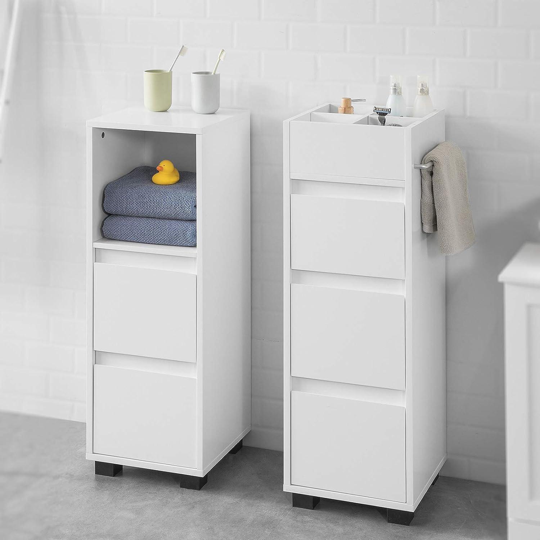 SoBuy BZR15-W Badezimmerschrank Badschrank Badkommode mit 15 Schubladen und  15 Fächern Kommode
