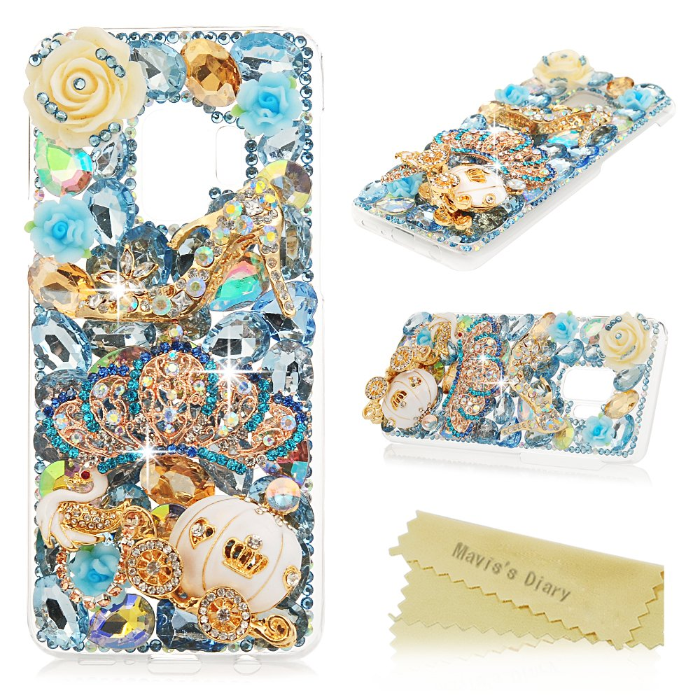 Galaxy S9 Case, Mavis's Diary Full Edge Protective Plastic Case Luxury 3D Handmade Crystal Clear Bling Glitter Diamonds Shiny Rhinestone Hard PC Cover for Samsung Galaxy S9 - Crown & high Heel