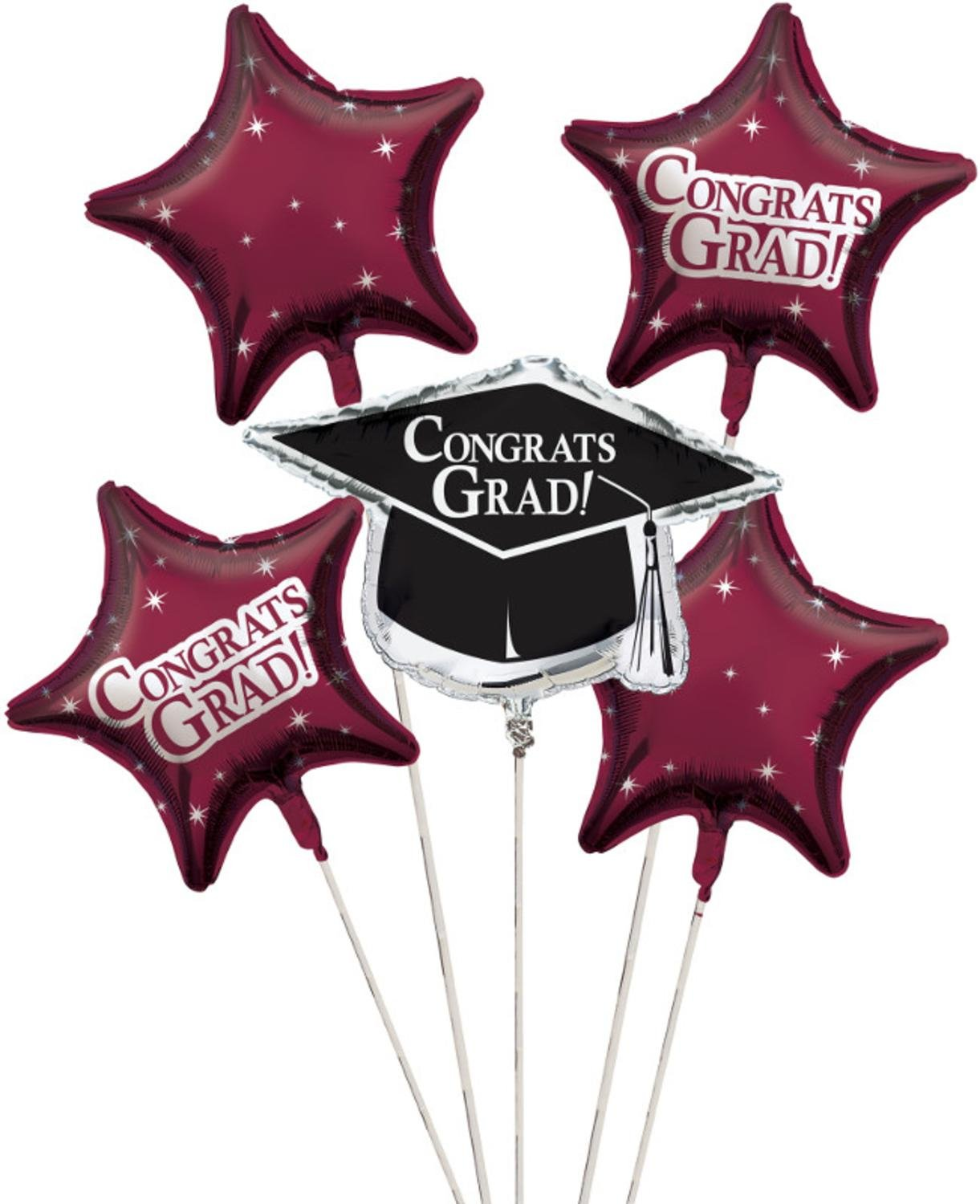 Club Pack of 12 Burgundy Red Metallic Foil ''Congrats Grad'' Graduation Day Party Balloon Clusters by Party Central
