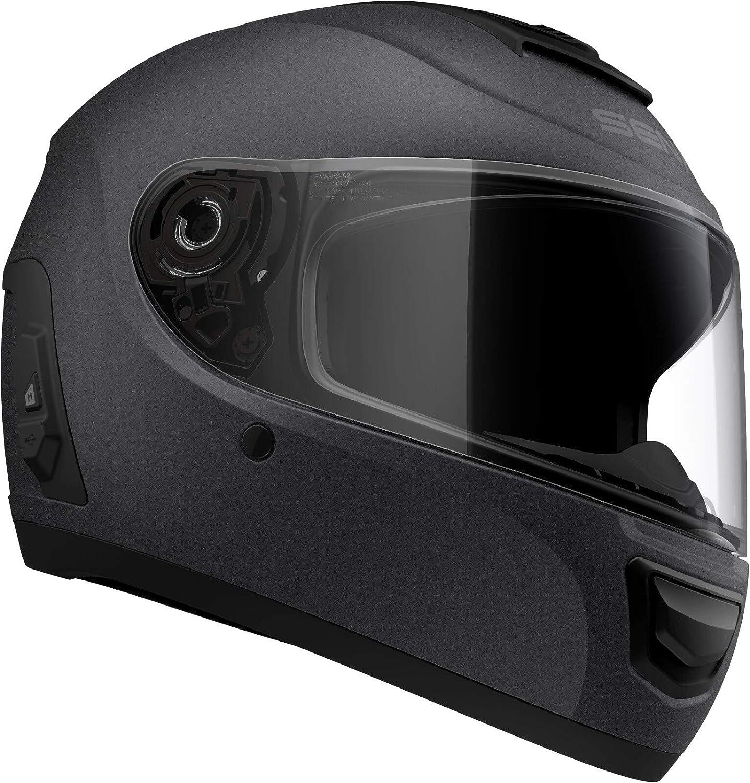 Momentum EVO XL size Matte Black, Large DOT Full Face Matt Black Motorcycle Smart Helmet with Mesh Intercom