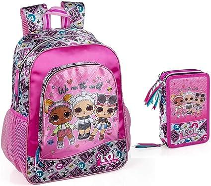 LOL Surprise Mochila y estuche para niñas, mochila escolar, estuche para el hombro, estuche para la escuela L.O.L. muñecas: Amazon.es: Ropa y accesorios