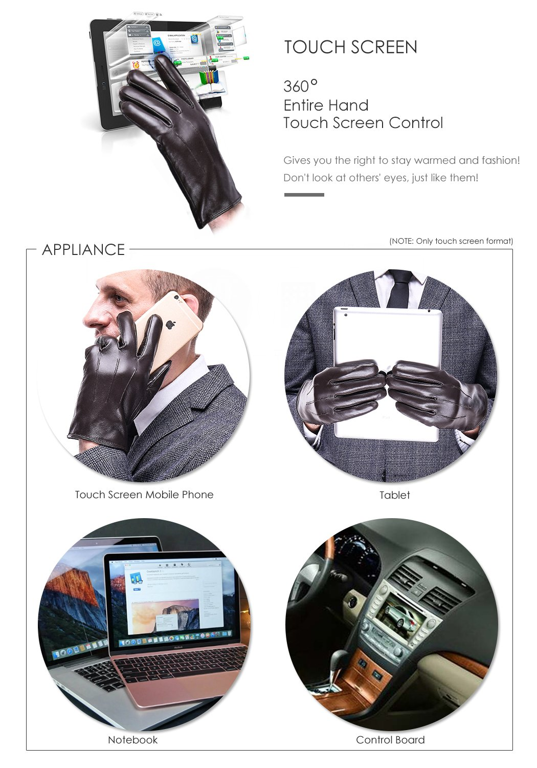 Leather Gloves for men,Anccion Best Touchscreen Winter Warm Italian Nappa Geniune Leather Gloves for Men's Texting Driving Cashmere/fleece Lining (Large, Brown) by Anccion (Image #4)