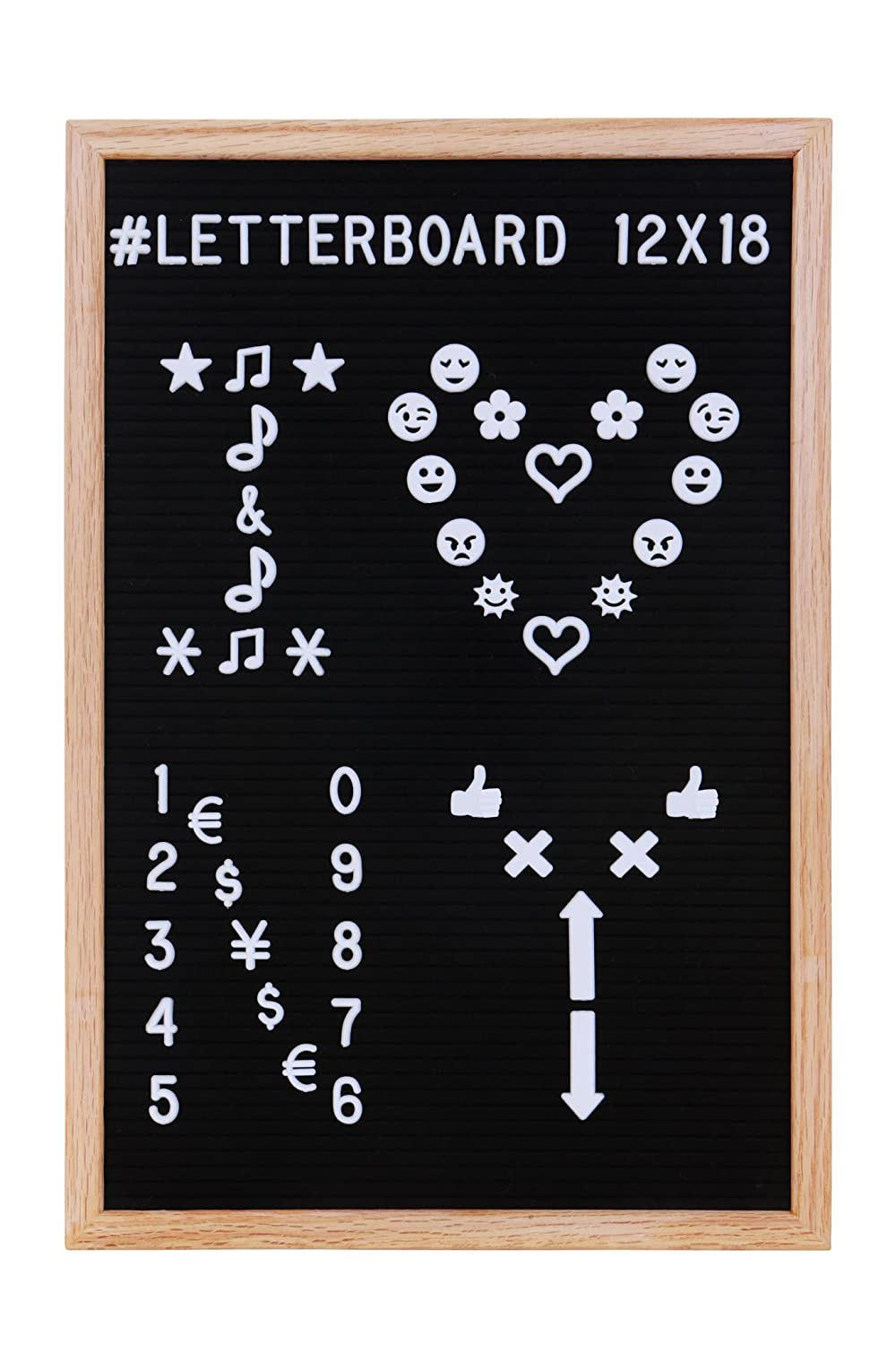 12x18'' Changeable Felt Letter Board - Letterboard With 688 Characters, Symbols And Emoji Tiles Set, With Two Storing Bags, By Globiss.