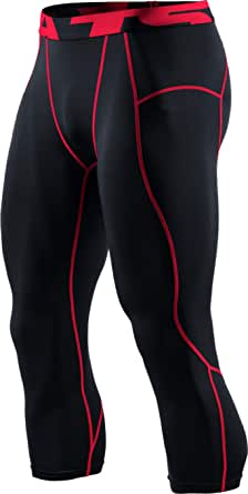 TSLA Men's 3/4 Compression Pants, Running Workout Tights, Cool Dry Capri Athletic Leggings, Yoga Gym Base Layer (Pack of 1, 2)