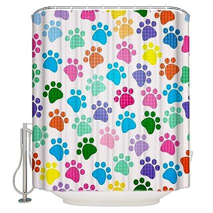 Cartoon Shower Curtain Colorful Dog Footprint Lattice Backdrop Print Bathroom Decor Polyester Fabric Curtains With