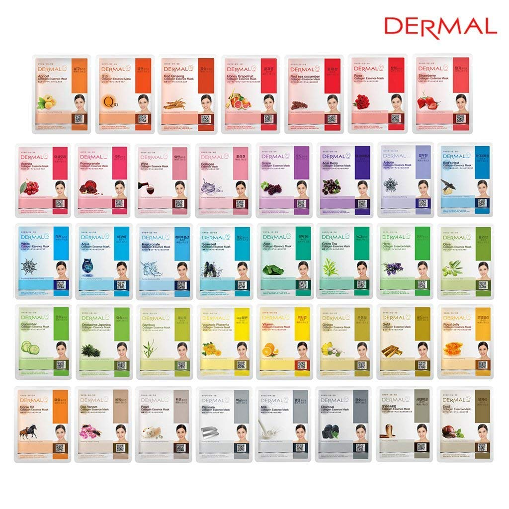 DERMAL 39 Combo Pack Collagen Essence Full Face Facial Mask Sheet - The Ultimate Supreme Collection for Every Skin Condition Day to Day Skin Concerns. Nature made Freshly packed Korean Face Mask by DERMAL