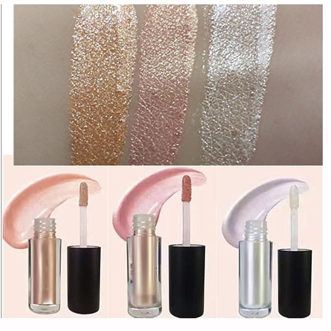 3 Colors set 3.5g Long-lasting Makeup eyeshadow Liquid Highlighter Liquid Cosmetic Glow Brightener Shimmer-Silver, Rose, Golden color
