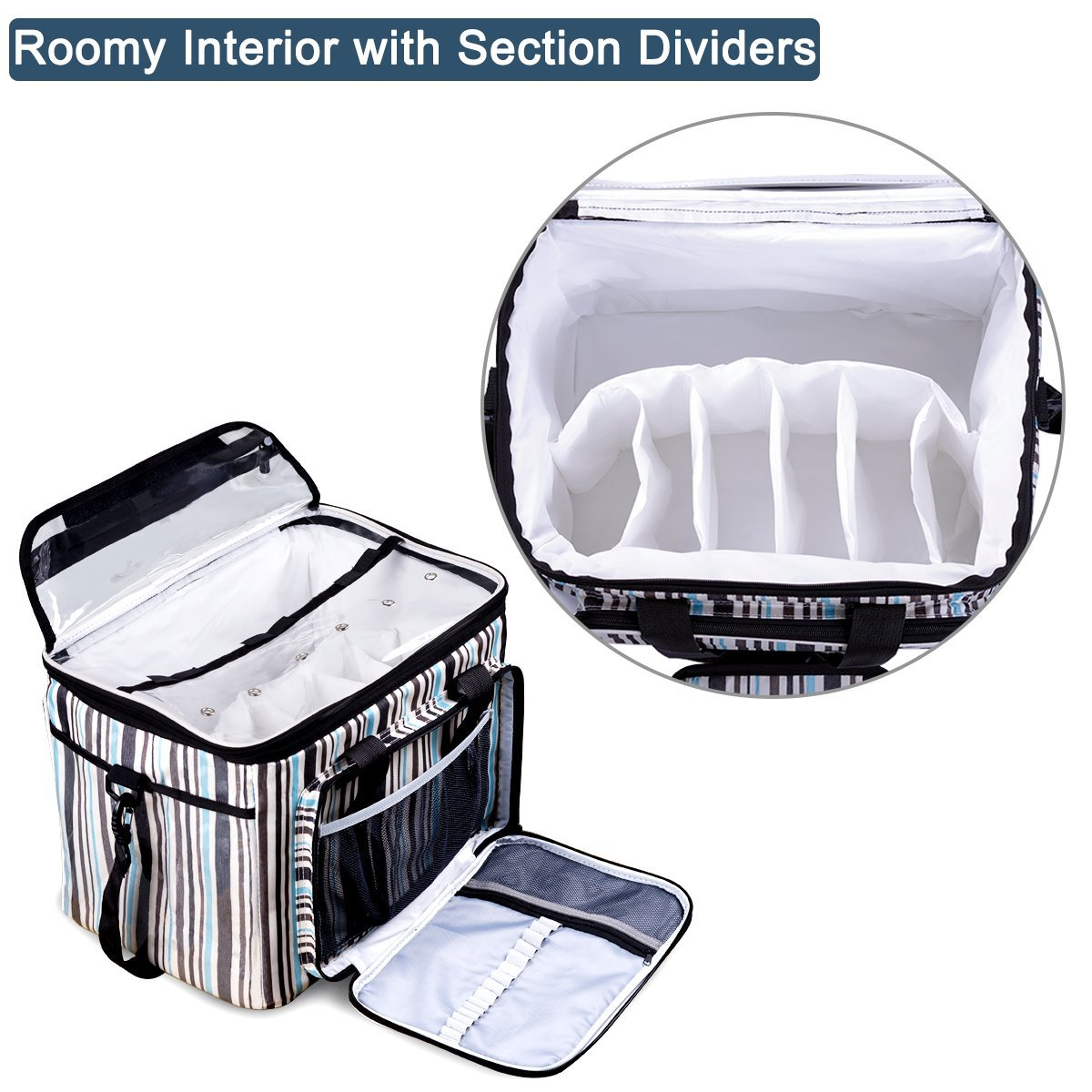 BONTIME Knitting Bag - High Capacity Striped Yarn Storage Tote Bag,Project Bags with Roomy Interior,Great for Organizing Everything You Need for Each of Projects,Large by BONTIME (Image #6)