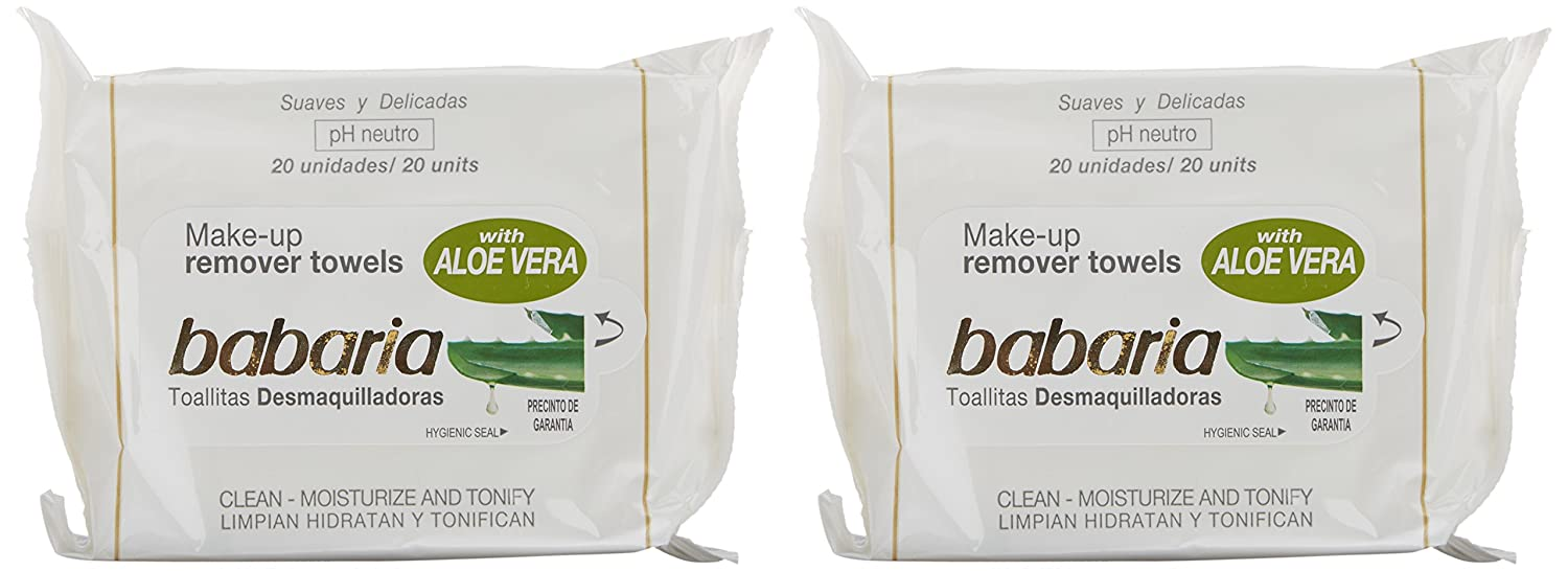 Amazon.com : BABARIA ALOE VERA TOALLITAS DESMAQUILLADORAS PH NEUTRO PACK 2X20U. : Beauty