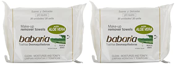 Babaria 48199 - Toallitas desmaquillantes, 2 x 20 unidades: Amazon.es: Belleza