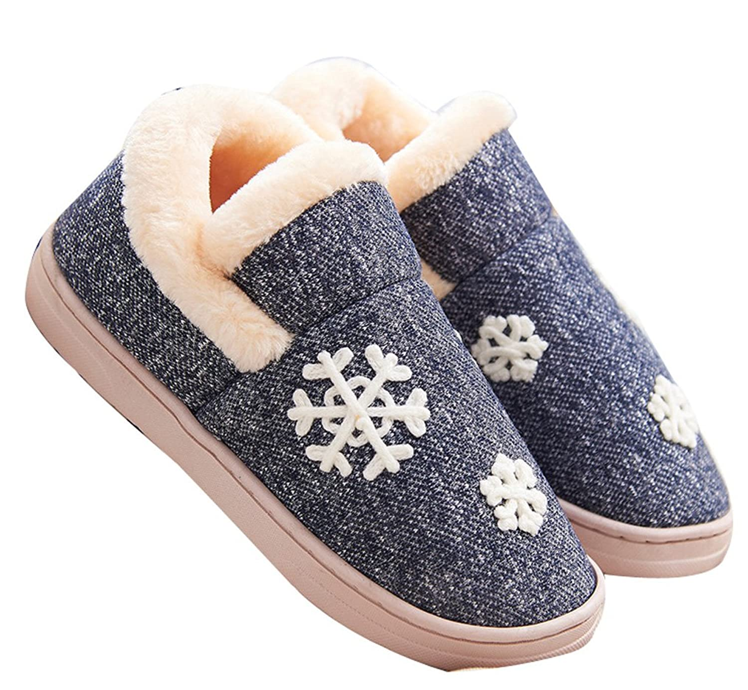 FreLO Women's Dark Blue Cotton Snowflakes Warm Womens Slippers Ladies Slippers