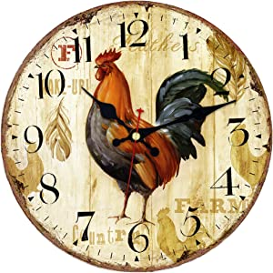 MEISTAR Office Decorative Animal Wall Clock,14 Inch Wooden Antique Super Large Arabic Numerals Rooster Design Quiet Bedroom and Dining Room Wall Clock