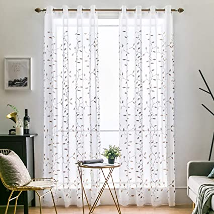 Amazon.com: MIULEE 2 Panels Brown Leaves Embroidered Sheer Window ...