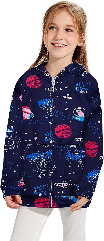 Funnycokid Girls Zip Up Hoodies Sweatshirt Kids Hooded Jacket with Pocket 4-14 Years