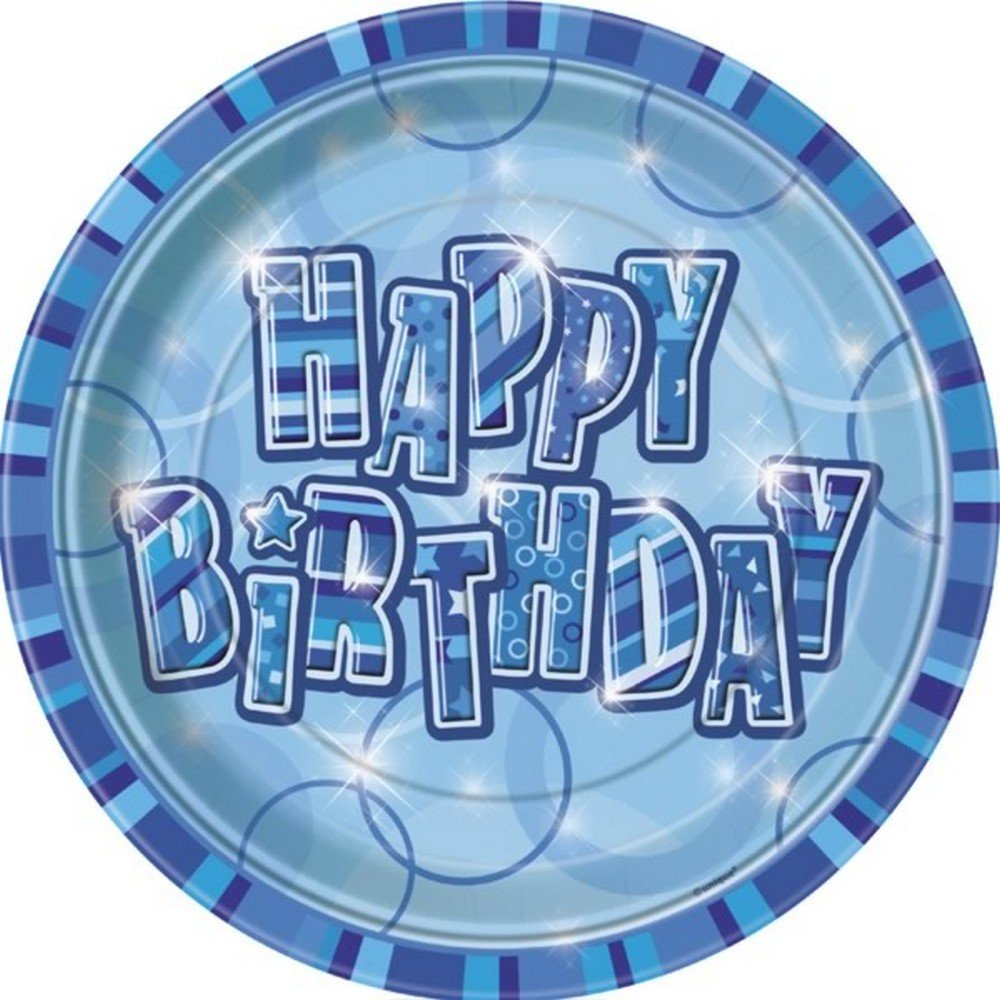 Unique 9 Inch Plates - Blue Glitz (One Size) (Blue)