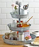 Galvanized Serving Tier Tray Weddings Picnic Birthday Parties Cupcakes Servers (3 Tier)