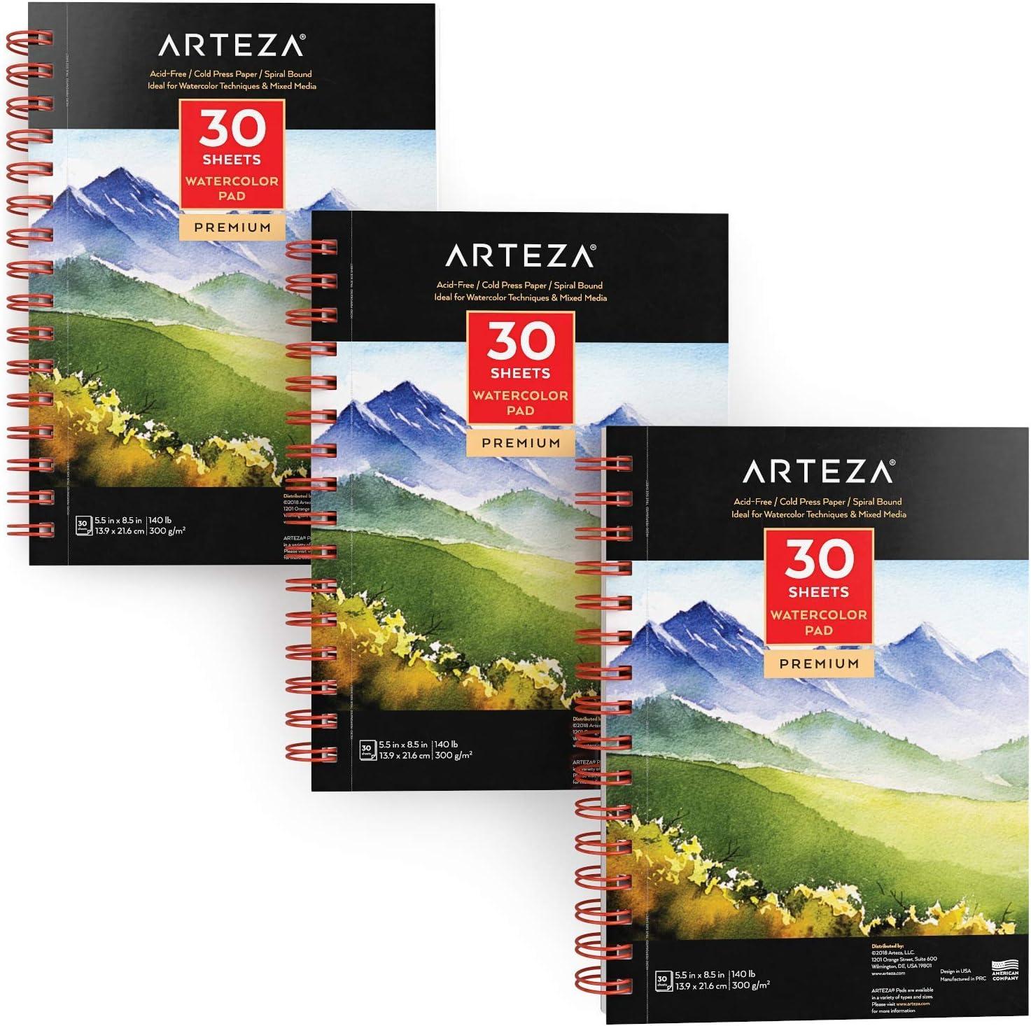 Arteza Cuadernos de acuarela | 13,9x21,6 cm | Pack de 3 blocs de ...