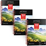 """ARTEZA 5.5x8.5"""" Watercolor Pad, Pack of 3, 90 Sheets (140lb/300gsm), 30 Sheets Each, Spiral Bound Acid Free Cold Pressed…"""