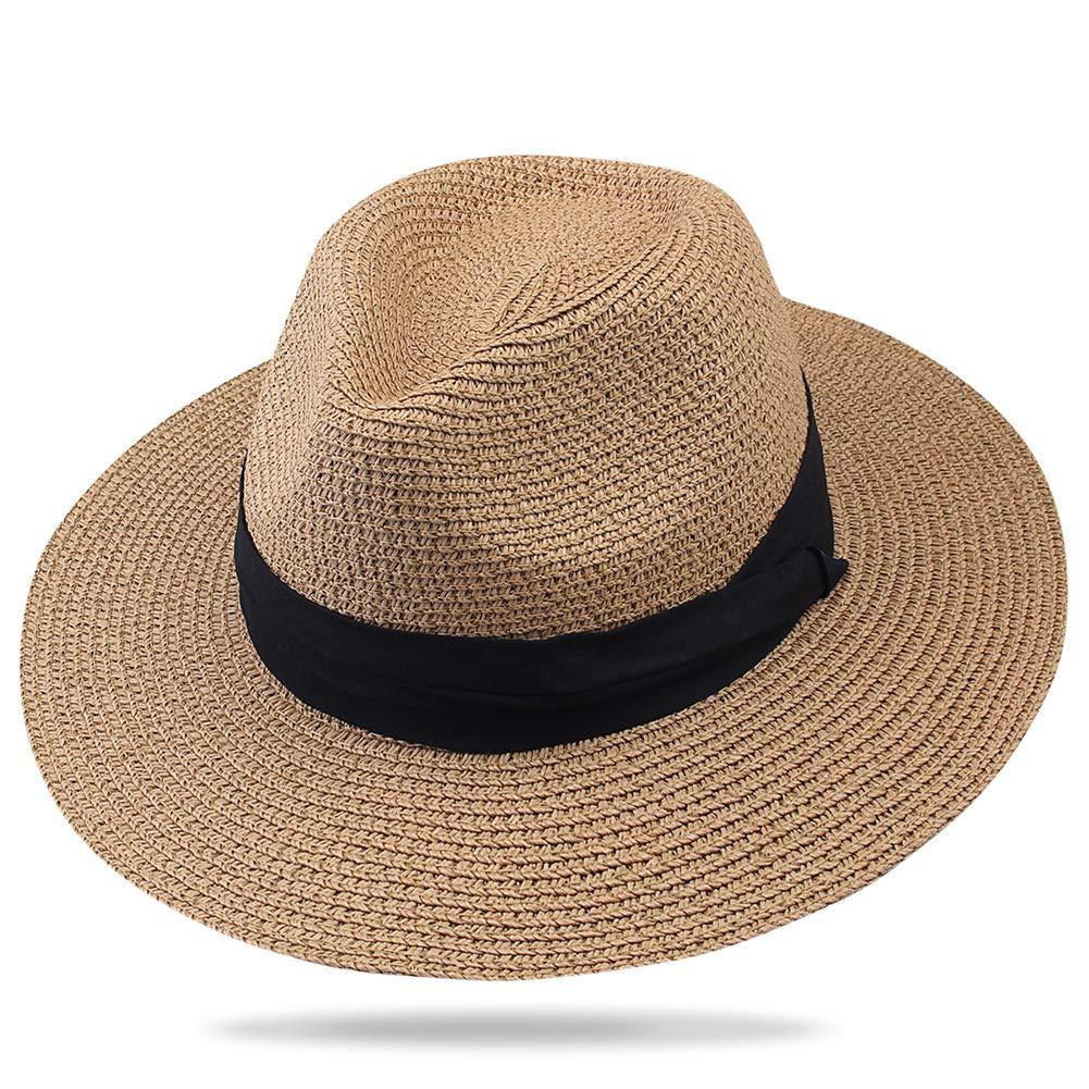 bdc1cc287680 FURTALK Panama Hat Sun Hats for Women Men Wide Brim Fedora Straw Beach Hat  UV UPF 50 at Amazon Women's Clothing store: