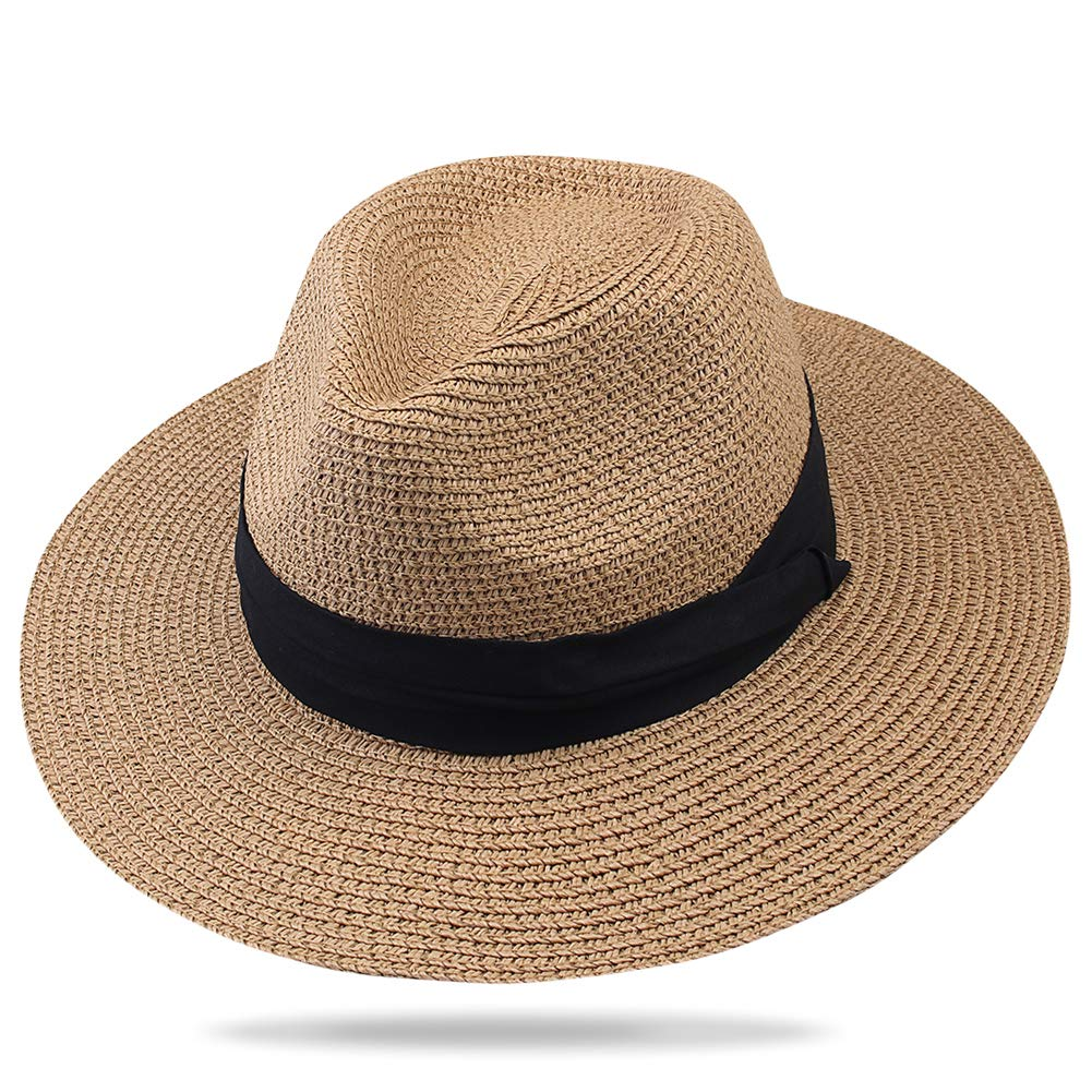 FURTALK Panama Hat Sun Hats for Women Men Wide Brim Fedora Straw Beach Hat UV UPF XLarge Size (23.6'-24.4'), Brown