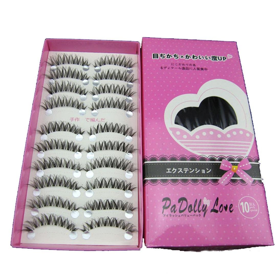 Chartsea Japanese Style Black 10 Pairs Eyelashes (Black)