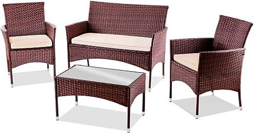 Mc Haus TRENTO Marrón - Set de muebles de jardín (Mesa+Sofa+2 Sillones de ratan color marrón): Amazon.es: Juguetes y juegos