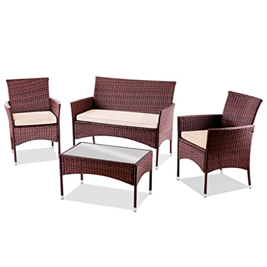 Mc Haus Marron Set de Muebles de Jardin Trento Sofa+2 Sillones de Ratan, Mesa, sofá y 2 sillas