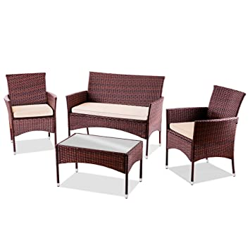 Mc Haus Set de Muebles de Jardin Trento Mesa+Sofa+2 Sillones de Ratan Marron,
