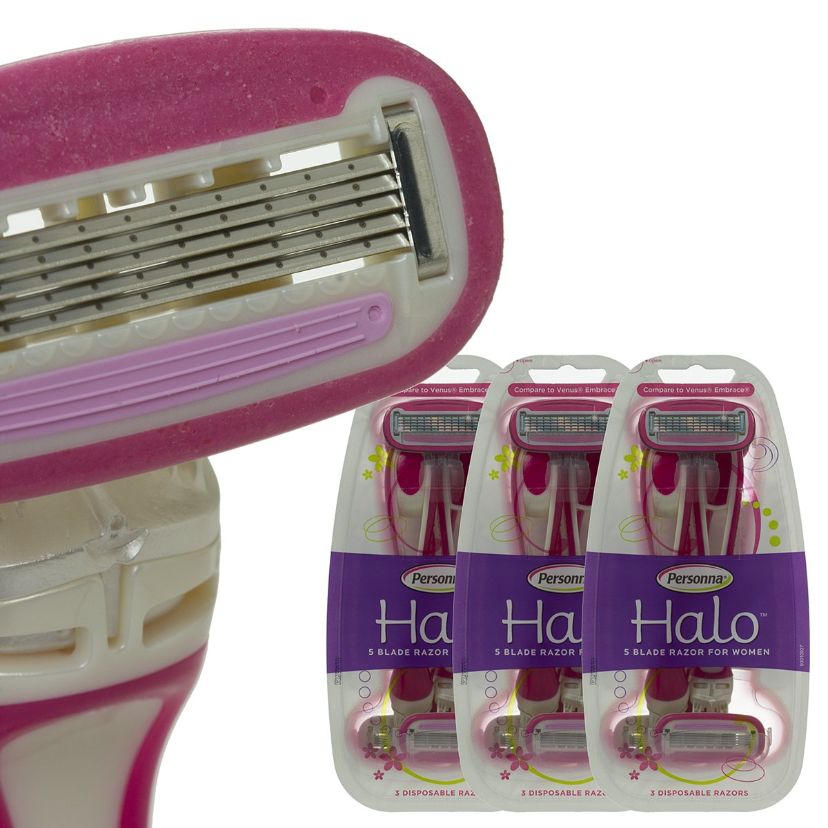 9 Pack Personna Halo 5-Blade Disposable Shaving Razors For Women Handle Comfort-Coated Moisture