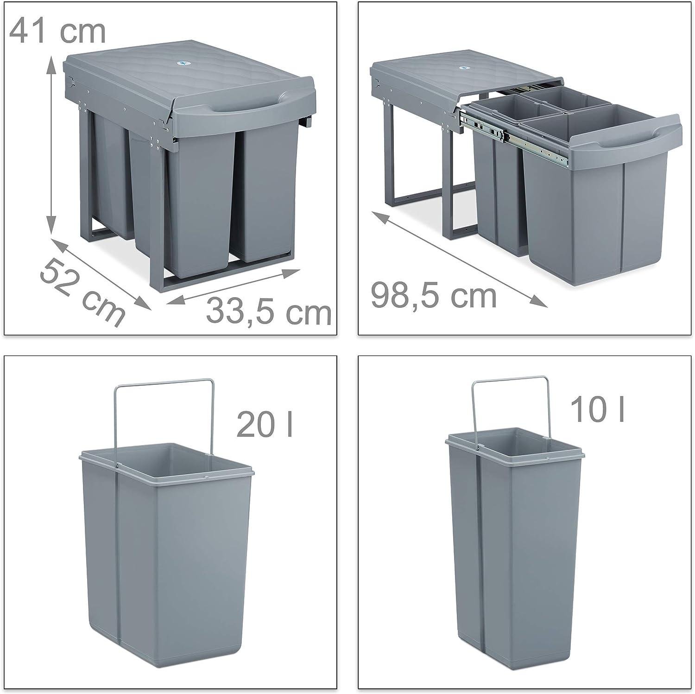 Bidoni Raccolta Differenziata Sotto Lavello 20l /& 2x10l,41x33,5x52 cm,grigio 3 Secchi Relaxdays Pattumiera Estraibile