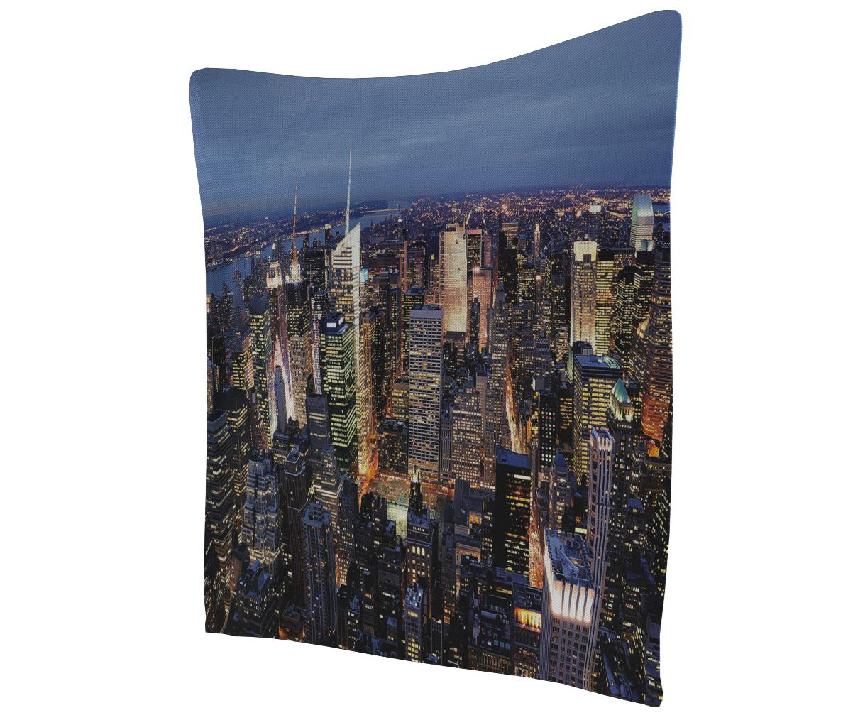Ambesonne New York Tapestry Aerial View Of Nyc Full Of Skyscrapers Manhattan Times Square Famous Cityscape Panorama Wide Wall Hanging For Bedroom Living Room Dorm 80 X 60 Blue Multicolor Home
