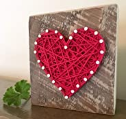Sweet & small red string art heart sign. Unique gifts for Valentine's Day, anniversaries, housewarming, teachers, congratulat